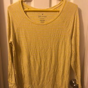 Yellow and grey striped top